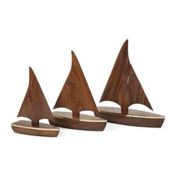 Bryan Wood Sailboats - Set of 3 - Beautiful wood grain enhances the look of this set of three sailboats, accented with brass details.