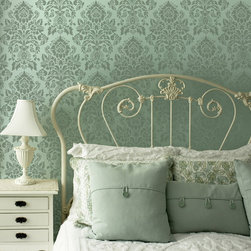Small Antoinette Damask Wall Stencil - Small Antoinette Damask Wall Stencil from Royal Design Studio Stencils. This small handpainted stencil pattern works great as an allover pattern on walls in living rooms, dining rooms, bedrooms and powder rooms. The French design works with modern, vintage, cottage, traditional and Old World furnishings.