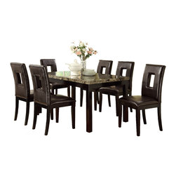 Adarn Inc. - 7 PC Casual Espresso Dining Set Marble Look Table Top Faux Leather Tufted Chairs - The lap of luxury is delivered with this marble-look finished tabletop dining room table. It includes seating for six and a bold frame in dark brown.