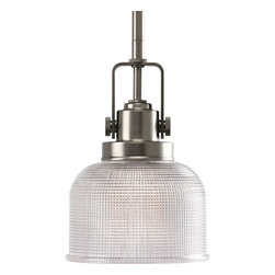 Progress Lighting - Progress Lighting P5173-81 One-Light Mini-Pendant With Double Prismatic Glass Sh - One-light mini-pendant with finely crafted strap and knob details and double prismatic glass.