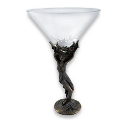Zeckos - Decorative Martini Glass with Art Nouveau Cherry Blossom Stem - This beautiful martini glass is a wonderful addition to any collection, featuring a bronzed Art Nouveau style stem. The stem of the glass is crafted to resemble a twisting tree adorned with cherry blossoms in the shape of a woman's figure. The glass measures 7 1/4 inches tall with a 2 inch diameter base and 4 5/8 inch diameter rim. Subtle use of color and expertly applied accents highlight the detail in the stem, from the pink cherry blossoms to the texture in the woman's dress and her delicate facial features. This glass is a pretty piece to display amongst your barware or on a shelf and it makes a lovely gift for martini lovers.