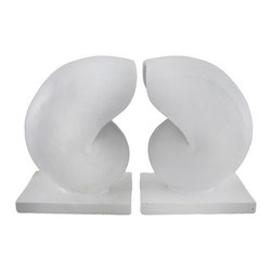 Pair of Decorative White Nautilus Shell Bookends Beach Decor - This pair of decorative bookends is a wonderful accent to rooms with beach decor. They are shaped like nautilus shells with a very subtle, mostly smooth texture. Made of cold cast resin, each bookend measures 6 inches tall, 4 1/2 inches long, and 3 inches wide. They have foam pads on the bottom to prevent them from scratching delicate furniture, so you can display them anywhere in your home or office.