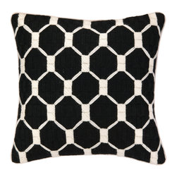 "Trina Turk - Trina Turk Montebello Black Bargello Pillow - Trina Turk's Montebello bargello pillow delivers a striking geometric statement. Set across black linen, white linked hexagons allure with visual interest.  20""W x 20""H; 100% linen; Dry clean only; Down pillow insert included; Natural linen may appear beige rather than white as shown"