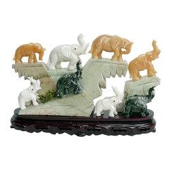 Golden Lotus - Color Jade Stone 8 Elephants Display Figure - Color Jade Stone 8 Elephants Display Figure