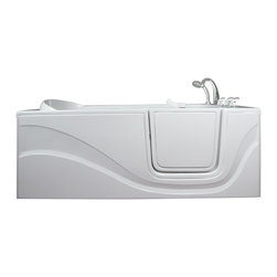 Ella's Bubbles - Ella Lay Down Hydro Massage Walk In Bath, Right Side Door and Drain - The Ella Lay Down 60 in. Walk-In Bathtub is specifically designed for people who want to lay prone while bathing but cannot lift their legs to get in and out of a traditional bathtub. Its standard 30 in. by 60 in. length allows it to fit where a standard bathtub once was. Indulgence and enjoy bathing while you soak in our lay down walk in bathtub. This walk-in bath is constructed of the highest grade fiberglass composite with a gel coat high gloss finish for beauty and durability. It is supported with a durable stainless steel frame. Like all Ella Walk In Baths, the lay down walk in bathtub features our durable high gloss finish, anti-slip floor, low step for easy entrance, an extension panel to fit up to a 60 in. opening, a hand shower with pull out hose and a high quality Huntington Brass Roman Faucet set. You can chose from left or right hand side door and drain, the soaking model or the massage model which is equipped with air, hydro or dual therapy massage options.