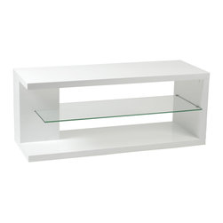 Eurostyle - Eurostyle Hilda 47 Inch Media Stand in White Lacquer & Clear - We've never seen this clever shape before.  The Hilda Stand is almost four feet wide and makes a perfect base of operations for your home entertainment center.   Actually it's pretty entertaining without the gear! What's included: Media Stand (1).