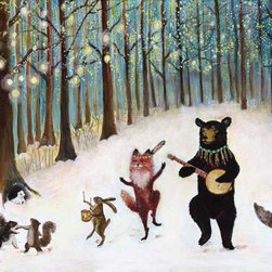 Dancing Forest Animals Woodland Art by Jahna Vashti - I'd like to think this really is what happens every night in the forest. The sun goes down, and the banjos come out!