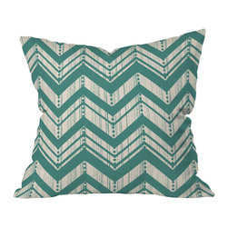 DENY Designs - Heather Dutton Weathered Chevron Throw Pillow, 20x20x6 - The muted green and weathered-boards effect soften the edges of a powerful print. Throw this pillow anywhere you want to make a subtle style statement.