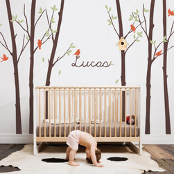 Tree Wall Decal with Leaves Birds - Add a touch of nature in your baby's nursery with our collection of trees with leaves and birds.