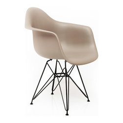 American Atelier - Eye-Catching Banks Chair, Dark Gray - Enjoy this simple and modern chair from American Atelier Living by Jay. The seat is made of polycarbonate with metal legs. The eye-catching legs will create a unique style to any room.
