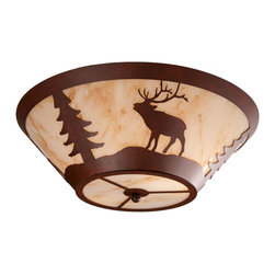 Steel Partners Inc - Round Drop Ceiling Mount - ELK - Every piece we create is unique — handcrafted at our factory in Chehalis, Washington, USA. Due to this, lead times are 2 to 4 weeks.