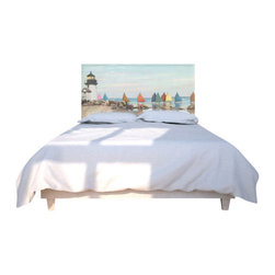 NOYO - Rainbow Fleet Headboard, Queen - Don't let a boring headboard keep you up at night. Get with a whole new concept in bedroom decor: A cedar frame takes a machine-washable slipcover you can change at will. Tonight, a soothing seascape; next week, whatever you dare to dream of.