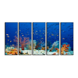 Vibrant Canvas Prints - Canvas Photo Prints, Framed Elephant Wildlife Wall Art and D�cor Canvas Print - This is a beautiful, 100% quality cotton canvas print. This print is perfect for any home or office, and will make any room shine with its addition of color and beauty.  - Free Shipping - Modern Home and Office Interior Decor   Seascape Underwater Canvas Designs - 5 Panel Print   Sea Underwater Plant and Fish Print on Canvas - Wall Art - 30 Day Money Back Guarantee.