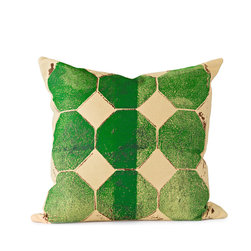 BY MERCATO - Green Octagon Throw Pillow - *Our green octagon pillow design uses layered bright green and dark green color on a soft wheat yellow dyed fabric. The octagons are accented with brown imperfect spattering and detail to create even more visual interest. The end result is a very graphic and artistic decorative design.