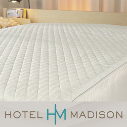 Hotel Madison - Hotel Madison Plush Comfort Quilted Featherbed or Fiberbed Cover - This white quilted featherbed cover adds an additional layer of luxury to your bedding suite. This protective cover, made of 100-percent cotton, provides a durable layer around the mattress topper and is finished with a zippered enclosure for ease of use.