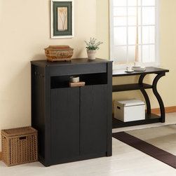 Furniture of America - Furniture of America Atlas Shoe Cabinet/ Multi-Purpose Chest with Mirror - This 41 inch tall black chest with mirror is the perfect way to store shoes or clothes in a stylish contemporary way. The top opens to a divided drawer with a pull up mirror. Five shelves are enclosed behind doors to securely and neatly tuck away items.