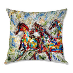 DiaNoche Designs - Pillow Woven Poplin - Karen Tarlton Abstract Wild Horses - Toss this decorative pillow on any bed, sofa or chair, and add personality to your chic and stylish decor. Lay your head against your new art and relax! Made of woven Poly-Poplin.  Includes a cushy supportive pillow insert, zipped inside. Dye Sublimation printing adheres the ink to the material for long life and durability. Double Sided Print, Machine Washable, Product may vary slightly from image.