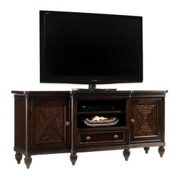 Lexington - Lexington Royal Kahala Maui Entertainment Console 537-907 - The two doors feature mitered split bamboo pattern with and adjustable shelf behind. The center drawer has an adjustable shelf above to allow for various media components.