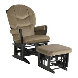 Dutailier - Dutailier Ultramotion Hardwood Light Brown Glider and Ottoman - This Dutailier ultramotion glider and ottoman features a hardwood frame construction and microfiber fabric. This indoor chair is highlighted by an espresso finish and easy-care, light brown fabric.