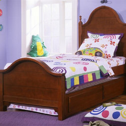 Vaughan Bassett - Youth Panel Bed w Trundle in Cherry Finish (T - Choose Bed Size: TwinIncludes double slotted panel bed and trundle unit with face panel. Headboard and footboard have double slots for height adjustments. Twin Size: (double slotted). Includes panel headboard, panel footboard and wood rails with 3 1-inch slats. Panel headboard: 41 in. L x 2 in. W x 58 in. H. Panel footboard: 43 in. L x 2.5 in. W x 29 in. H. Full Size: (double slotted). Includes panel headboard, panel footboard and wood rails with 3 1-inch slats. Panel headboard: 56.75 in. L x 2 in. W x 62 in. H. Panel footboard: 58.5 in. L x 2.5 in. W x 29 in. H. Wood rails: 76 L x 6 in. W x 1 in. H. Cherry finish. Assembly required