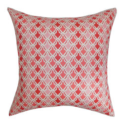 """The Pillow Collection - Gimli Geometric Pillow, Pink/Red, 18"""" x 18"""" - Add a contemporary vibe to your living room, bedroom or sectionals with this scene-stealing throw pillow. This accent pillow comes with a unique geometric pattern with shades of pink, red and white. This square pillow is perfect for your bed, sofa or seat. This decor pillow suits various decor settings and styles. Crafted from 100% high-quality cotton fabric. Hidden zipper closure for easy cover removal.  Knife edge finish on all four sides.  Reversible pillow with the same fabric on the back side.  Spot cleaning suggested."""