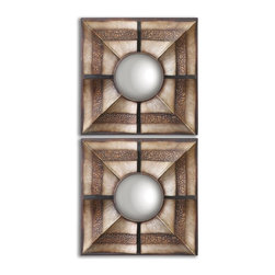 "Uttermost - Euthalia Heavy Rustic Bronze Wash With Silver Undertones Square Mirror Set of 2 - Layered, Hand Forged Metal Frames With Heavy Rustic Bronze Wash With Silver Undertones. Mirrors Are Convex. Frame Dimensions: 19""W X 19""H X 3""D; Mirror Dimensions: 9.5""W X9.5""H; Finish: Heavy Rustic Bronze Wash With Silver Undertones; Material: MetalNo; Beveled: ; Shape: Square; Weight: 26; Included: Brackets, Ready to Hang"