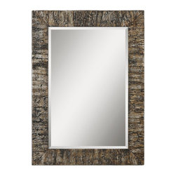 """Uttermost - Uttermost Coaldale Bark Mirror - Bark veneer finished in an antiqued silver champagne leaf with a heavy gray glaze. Frame is made of bark veneer finished in antiqued, silver champagne leaf with a heavy gray glaze. Mirror features a generous 1 1/4"""" bevel. May be hung either horizontal or vertical."""