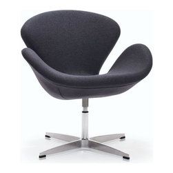 Modern Gray Fabric Swivel Lounge Chair Pori inspired by Swan Chair - Modern Lounge Chair Pori was designed inspired by the famous Swan Chair. It has a swivel steel base and bright Iron Gray fabric upholstery.