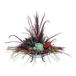 Large Floral Centerpiece - Large Natural Centerpiece Tray with Feathers.