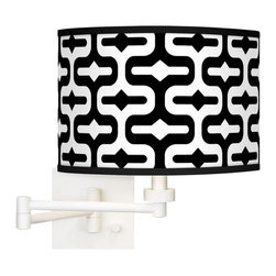 "Giclee Gallery - Contemporary Reflection Giclee White Swing Arm Wall Light - Give your decor a contemporary lift with this giclee shade swing arm wall light. The shades pattern is printed onto high-quality canvas using the giclee technique. The canvas is then applied to a shade form. The resulting shade is opaque with a light throw that is focused up and down. The base features a clean white finish and a 24"" arm extension. This plug-in wall light is easy to install; just plug into any standard wall outlet. A dimmer switch allows you to adjust the light output. This shade is custom made-to-order. U.S. Patent # 7347593. White finish. Plug-in style. Dimmer switch. Takes one 75 watt bulb (not included). 24"" maximum arm extension. Square wallplate is 5 1/2"" across and 1"" deep. Shade is 12"" wide and 8 1/2"" high.     White finish.  Plug-in style.  Dimmer switch.  Takes one 75 watt bulb (not included).  24"" maximum arm extension.  Square wallplate is 5 1/2"" across and 1"" deep.  Shade is 12"" wide and 8 1/2"" high."