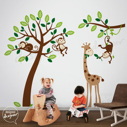 kids wall decoration - https://www.etsy.com/listing/77161498/tree-wall-decals-monkeys-and-giraffe?ref=shop_home_active