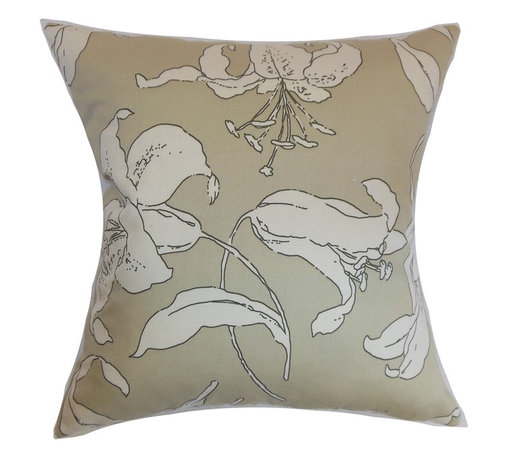 "The Pillow Collection - Elorza Floral Pillow Khaki - Subtle and muted, this throw pillow warms up your interiors with its interesting print. The floral pattern in this square pillow provides a visual element to the khaki-hued background. Decorate this accent pillow on your sofa, bed or chairs to make it more comfortable and stylish. This 18"" pillow is made from 100% high-quality cotton fabric. Combine this pillow with solids and other patterns like toiles, ikats and more. Hidden zipper closure for easy cover removal.  Knife edge finish on all four sides.  Reversible pillow with the same fabric on the back side.  Spot cleaning suggested."
