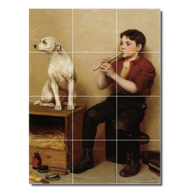 Picture-Tiles, LLC - Music Hath No Charms Tile Mural By John George Brown - * MURAL SIZE: 48x36 inch tile mural using (12) 12x12 ceramic tiles-satin finish.