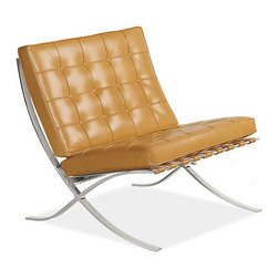 Seville Leather Chair, Camel - My husband will tell you that if I buy anything leather, it's in this honey shade. It looks even better upholstering this classic chair.
