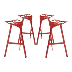 Modway Imports - Modway EEI-1363-RED Launch Stacking Bar Stool Set of 4 In Red - Modway EEI-1363-RED Launch Stacking Bar Stool Set of 4 In Red