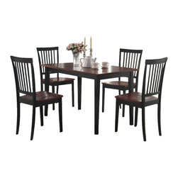 Coaster - Coaster 5 Piece Dining Set in Two Tone Dark and Cherry Finish - Coaster - Dining Sets - 150153 - The Oakdale collection offers a quick style update for any home. This dining group has a classic style that will blend easily with any decor in a deep Cappuccino fini