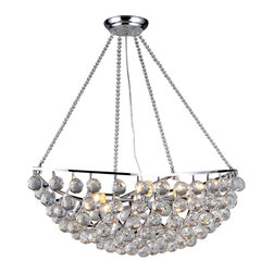 Warehouse of Tiffany - Heracles 6-light Black Chandelier - Add a touch of elegance to your home with this Heracles Black Chandelier from Warehouse of Tiffany. This dynamic lighting element features generous rows of cascading crystals to catch the light and a contemporary 6-light design. Material: Metal and crystalSetting: IndoorFixture finish: BlackNumber of lights: 6Requires six (6) 40 watt bulbs (not included)Dimensions: 28 inches high x 10 inches wide x 22 inches deepThis fixture does need to be hard wired. Professional installation is recommended.Attention California Residents: This product contains Lead, a chemical known to the State of California to cause cancer and other reproductive harm.CSA Listed, ETL Listed, UL Listed
