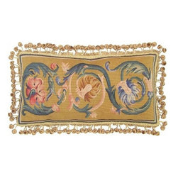 "EuroLux Home - New Aubusson Throw Pillow 12""x24"" Blue Gold - Product Details"