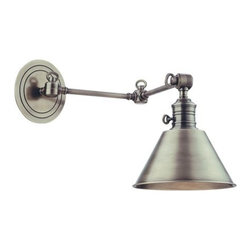 Hudson Valley Lighting - Hudson Valley Lighting Garden City Swing-Arm Wall Sconce - Garden City's adjustable sconces embody the tradition of ingenious American design. Restoration style shapes the industrial socket holder and rings the machined details on the cast metal backplate. We wire Garden City with an on/off switch, making it ideal for a bedside reading lamp or as a replacement fixture in historic homes that lack a separate wall switch.Dimensions: