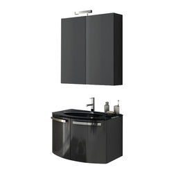 ACF - 28 Inch Glossy Black Bathroom Vanity Set - This Italian-made bathroom vanity set features a waterproof panel made of engineered wood in a beautiful glossy black finish.