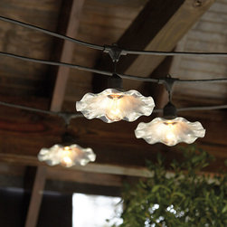 Ballard Designs - Caf&#233 Shade For Vintage String Lights - Fits over our Vintage String Light bulb. Outdoor-safe galvanized finish. Designed exclusively to fit our top-rated Vintage String Lights, this gently ruffled shade gives your outdoor lights a softer, prettier look. Crafted of powder-coated metal to resist rust and moisture.Ruffled Shade features: . .