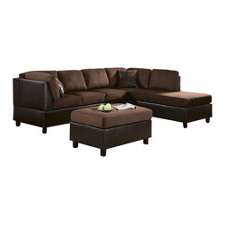Homelegance - Homelegance Comfort Living Sectional Sofa in Chocolate & Dark Brown - Sectional Sofa in Chocolate & Dark Brown is a part of 1009 Collection by 9 The Comfort Living Collection, with our patent pending assembly method, allows you to customize the placement of the back supports to fit your living space needs. Working as either a right OR left facing grouping, the reversible 3-seater and chaise may be placed on either side, optimizing your special needs. Contrasting two-tone rhino microfiber and dark brown bi-cast vinyl lends a contemporary yet relaxed style. 2 free pillows included.  Reversible 3-Seater, Left/Right Unit (1), Reversible Chaise, Left/Right Unit