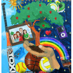 The Giving Tree (Original) By Kayla Domaszek - An enchanting piece of artwork that combines many of the hobbies and simplicities of life into one painting.  Filled with color and life, it deserves to be in anyone's home.