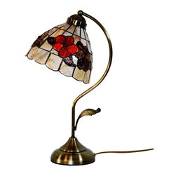 ParrotUncle - Bronze Craftsman Arc Arm Style Tiffany Flower Table Lamp - The Tiffany Lighting fixture has been a staple in interior design since the late 1800s and is still as fashionable today. As a part of the Art Nouveau movement,this Bronze Craftsman Arc Arm Style Tiffany Table Lamp are a fabulous choice especially if your decor is vintage inspired or Victorian. Made up of several pieces of stained glass, these are timeless light fixtures that will never go out of style.