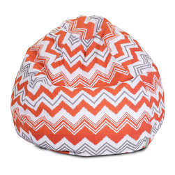 Majestic Home - Outdoor Orange Zazzle Small Bean Bag - A great addition to any family room, playroom or outdoor seating arrangement, the Majestic Home Goods Small Bean Bag allows your child to read or watch a favorite show in the utmost comfort. Generously filled with eco-friendly polystyrene beads, this chair easily forms to your child's body for an ergonomic lounging experience. This bean bag has an outdoor treated polyester slipcover, with up to 1000 hours of U.V. protection that zips off for easy cleaning.