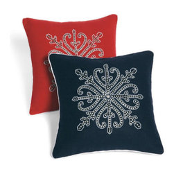 Grandin Road - Studded Throw Pillow - Decorative throw pillow with a cover decorated with finely-detailed studs. 100% felt cover. Brushed nickel-plated studs. Polyfill insert included; hidden zipper. Dry clean only. Update your sofa, loveseat or armchair with an accent that's soft and edgy; each of our Studded pillows will give your room a graceful boost, with a dash of bold glamour. Each cover is made from felt and ornamented with low relief, brushed nickel-plated studs, for fantastic, unexpected flair. Select your favorite color and size, and pile them on.  .  .  .  .  . Pillow inserts are vacuum packed to minimize shipping costs – simply fluff to restore shape . Imported.