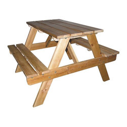 ORE International - Kids Pinewood Picnic Table w Integrated Benches - Built-in benches on extra wide base. Smoothly finished. Made from solid pinewood. Natural finish. Minimal assembly required. 31 in. L x 28 in. W x 20.5 in. H (15 lbs.)Great as a place for children to enjoy snacks, projects or meals. Holds up to enthusiastic kid play as well as the elements outdoors. Destined to become a family favorite, this handsome kids' picnic table is made to last. Ideal use for outdoors or on a porch, kids' will enjoy playing board games, doing crafts, or sharing a meal at a table that's just the right size for them.