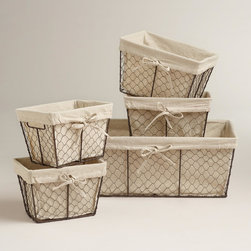 Charlotte Lined Wire Baskets - These come for a great price. I personally would remove the fabric liner or replace it with something more fun. Wire is also an extremely durable option.