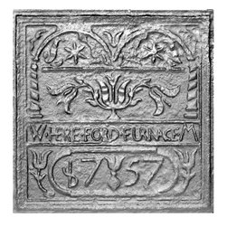 "Pennsylvania Firebacks - 22.75"" x 23"" Hereford Stove Plate Fireback - Pennsylvania's Hereford furnace was built in 1745 by Thomas Maybury."