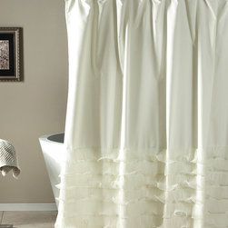 Lush Décor - Ivory Ruffle Shower Curtain - With this beautiful ruffle-embroidered shower curtain, you can refresh your bathroom and add a touch of class in an instant. Buttonhole tops make for easy instillation.   72'' W x 72'' H 100% polyester Machine wash; tumble dry Imported